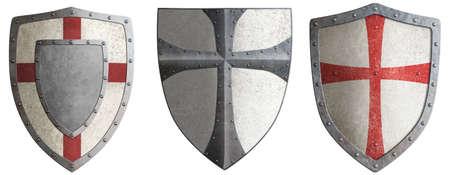 crusaders metal shields set 3d illustration
