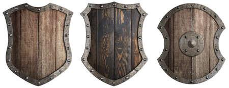 Set of wooden shields isolated 3d illustration Standard-Bild - 117269178