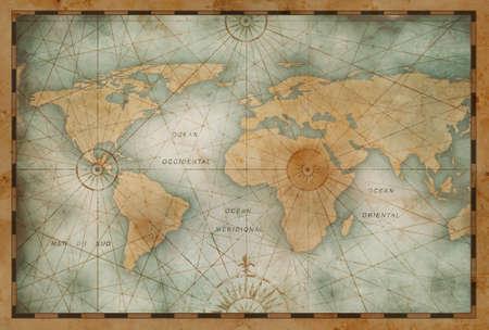 vintage color world map illustration Standard-Bild - 117269184