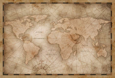 vintage world map illustration based on image furnished Standard-Bild