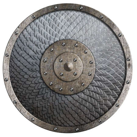 Round rustic metal shield covered by scales isolated 3d illustration Standard-Bild - 116952610