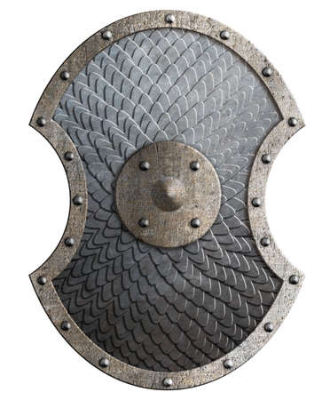 Round rustic metal shield covered by scales isolated 3d illustration Standard-Bild - 116952611
