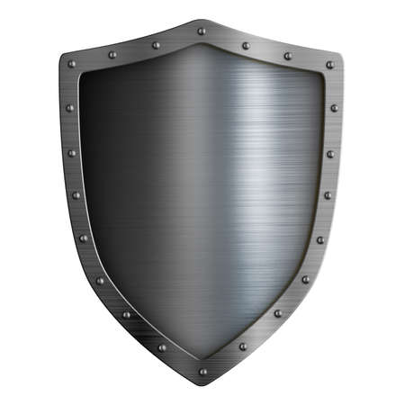 Classical new metal shield isolated on white Standard-Bild - 116952614