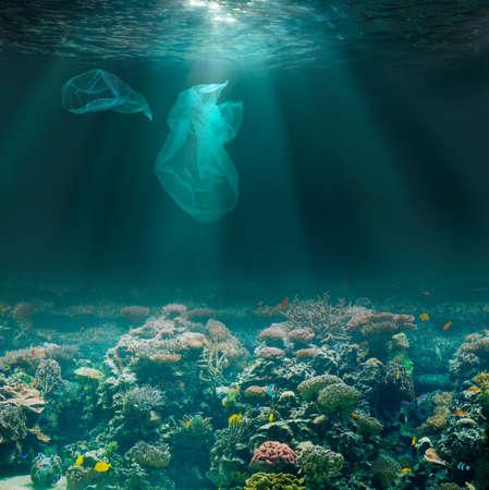 Sea or ocean underwater with plastic bags. Environment pollution. Standard-Bild - 116952651