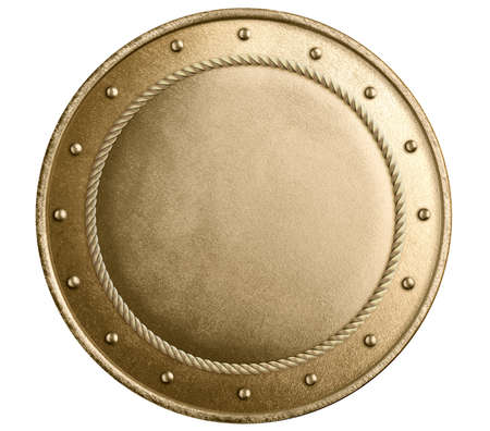 Large gold shield with metal frame isolated on white Standard-Bild - 116952666