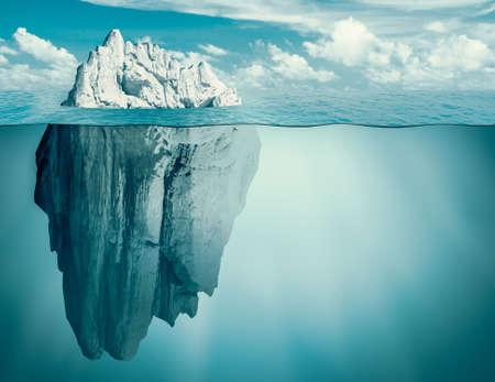 Ijsberg in oceaan. Verborgen dreiging of gevaar concept. 3D illustratie. Stockfoto