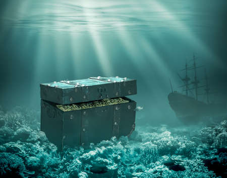 Treasures on the seabed. Sunken chest with gold and merchant ship under water 3d illustration Standard-Bild - 117269214