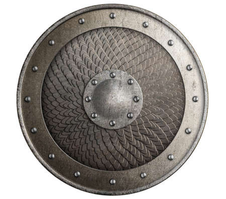 Round rustic metal shield covered by scales isolated 3d illustration Standard-Bild - 117269215