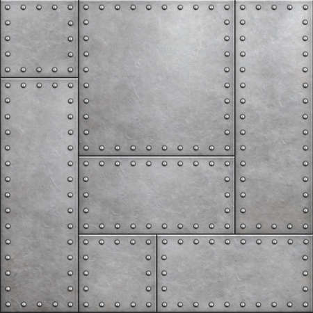armor plates with rivets as seamless metal background 3d illustration Standard-Bild - 116952679