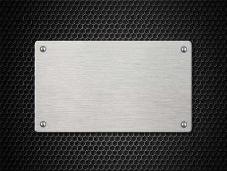 metal plate with rivets over hexagonal cellular background 3d illustration Standard-Bild - 116952680