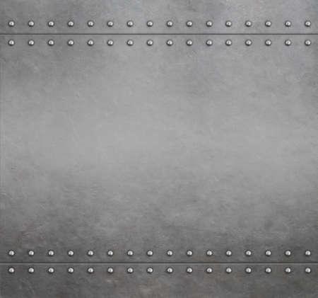 Metal armor background with rivets 3d illustration Standard-Bild - 117269221