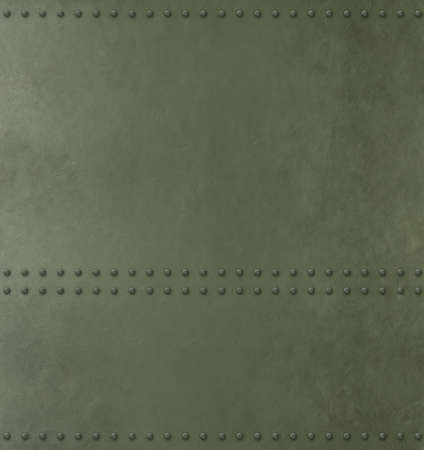 Metal green armor background with rivets 3d illustration