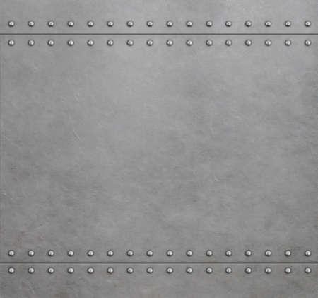 Metal armor background with rivets 3d illustration Standard-Bild - 119270078