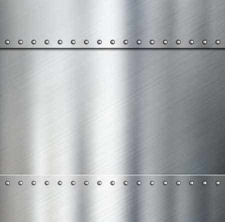Metal brushed steel plates with rivets 3d illustration