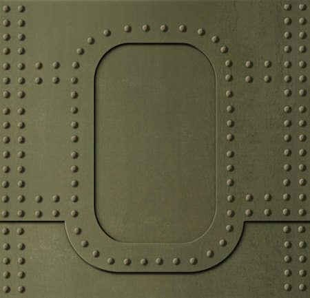 Metal khaki armor background with rivets 3d illustration Standard-Bild - 119270087