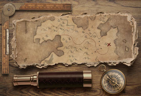 Old torn treasure map with compass and spyglass top view still life. Adventure and travel concept. 3d illustration. Standard-Bild - 119270091