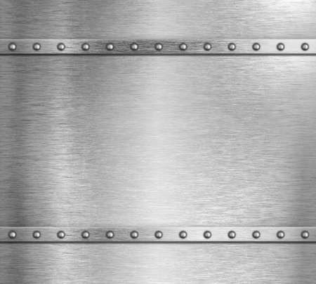 Metal steel background with rivets 3d illustration Stock Photo