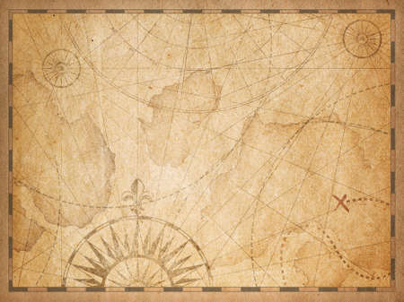 old nautical hidden treasure map background Standard-Bild - 119270104