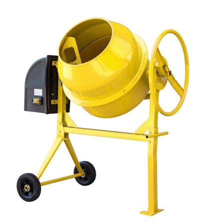 Yellow cement mixer isolated on white Standard-Bild - 119269845