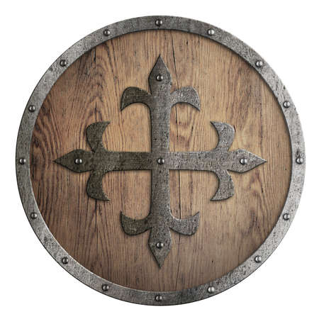 Round wooden shield with metal cross in center isolated Standard-Bild - 119269850