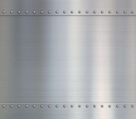 Metal steel or aluminum plates with rivets Stock Photo