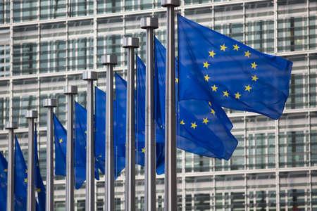 European Union flags in front of Berlaymont building Standard-Bild - 119269852