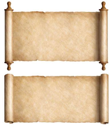 Vintage paper scrolls set isolated on white Standard-Bild - 119269797