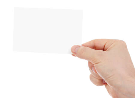 hand holding blank paper card isolated Standard-Bild - 119269803