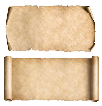 Vintage paper or parchment scrolls set isolated on white Standard-Bild - 119269807