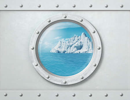 Ship porthole with iceberg in ocean behind it. 3d illustration. Banque d'images