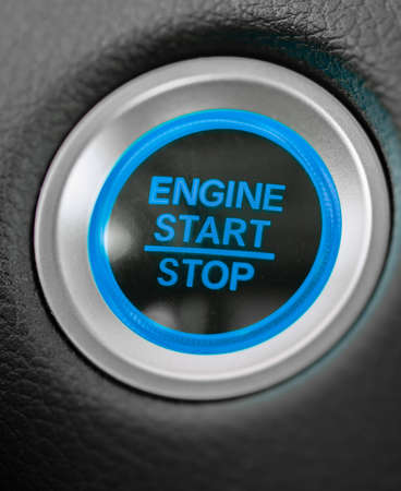 start stop engine car blue button