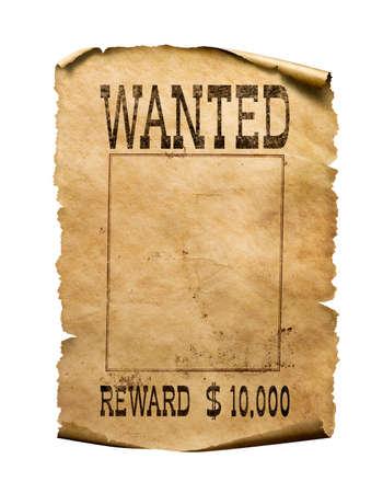 Poszukiwany plakat dzikiego zachodu na białym tle