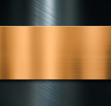 Metal background with brushed bronze plate Imagens