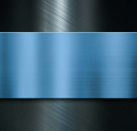 Metal background with brushed blue plate