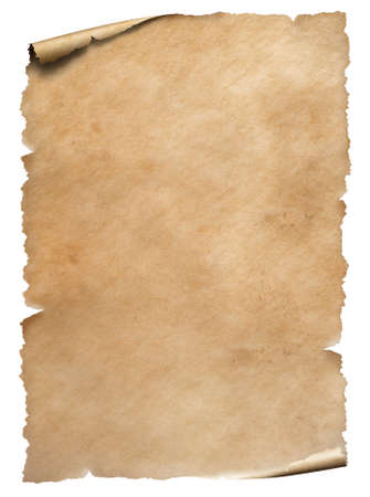Old worn paper textured sheet isolated on white