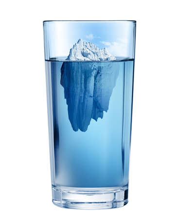 Iceberg in glass. Fresh water depletion environment concept. Isolated with clipping path included.