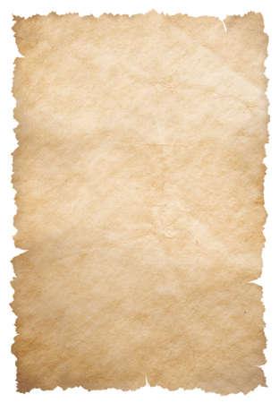 Altes Papier mit zerrissenen Kanten isoliert auf weiß