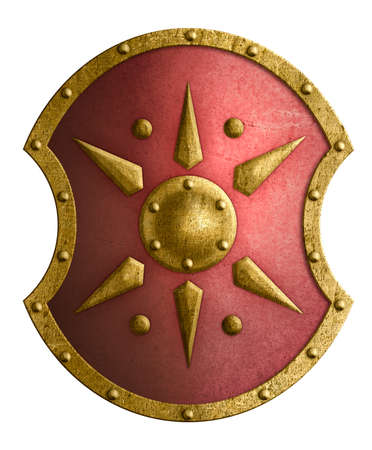 Large red metal shield with golden star isolated 3d illustration