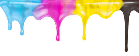 CMYK ink color paint dripping isolated on white Фото со стока