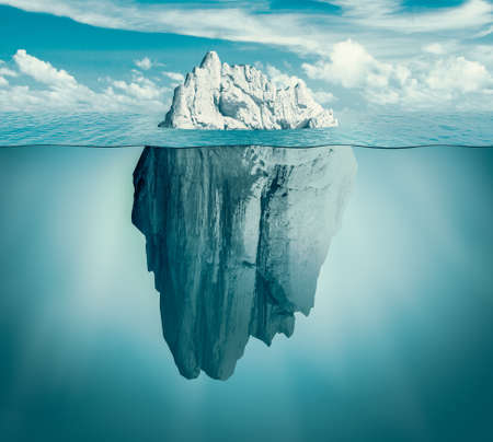 Iceberg in ocean as hidden threat or danger concept