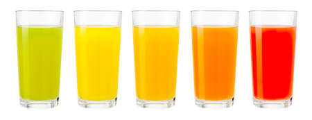 Various color fruit juices in glasses isolated