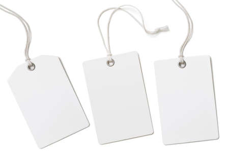 Blank paper price tags or labels set isolated on white Imagens