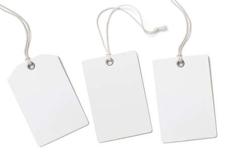Set di etichette o cartellini dei prezzi in carta bianca isolato su bianco Archivio Fotografico