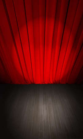 closed theater red curtain and wooden stage or scene top view Фото со стока