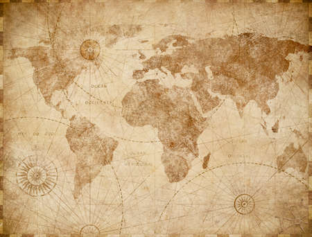 Medieval world map vintage stylization 스톡 콘텐츠