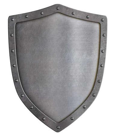 Escudo de metal clásico aislado en blanco