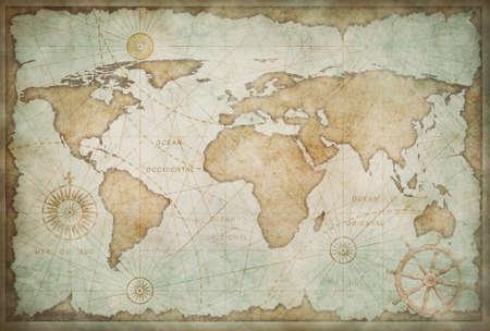 Średniowieczna zużyta stylizacja mapy świata w stylu vintage