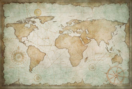 Medieval worn world map vintage stylization 免版税图像