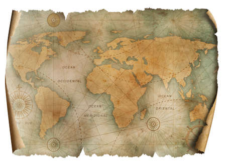Vintage world map parchment isolated on white