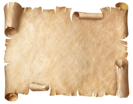 Ancient worn parchment or old papyrus isolated